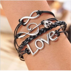 Bracelet Musical Note Skull LOVE Charms Black