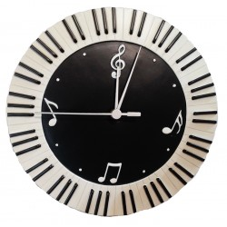 Wall Clock Round Keyboard & Music Symbols