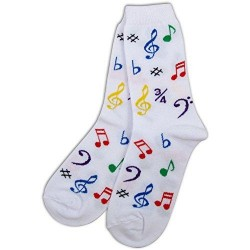 Socks Womens Multi Notes White