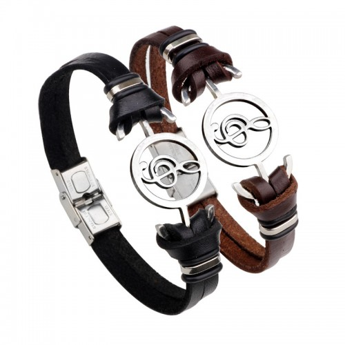 Genuine Leather & Stainless Steel Men Bracelet Treble Clef