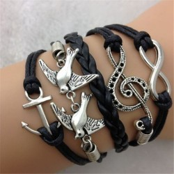 Leather Anchor Birds Treble clef Bracelet
