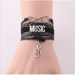Black bracelet LOVE Music