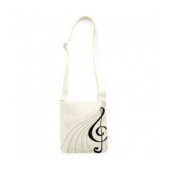 Bag Cream Canvas Cross Body Black Treble Clef