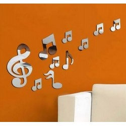 "Mirror Wall Stickers ""Music Notes"""