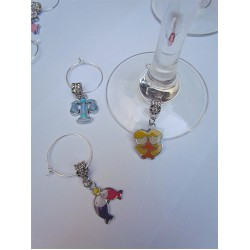 Enamel ZODIAC Wine Glass Charms